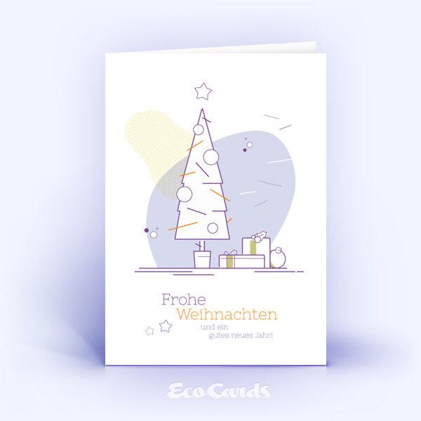 Weihnachtskarte Nr. 1731 violett mit einem Weihnachtsbaum