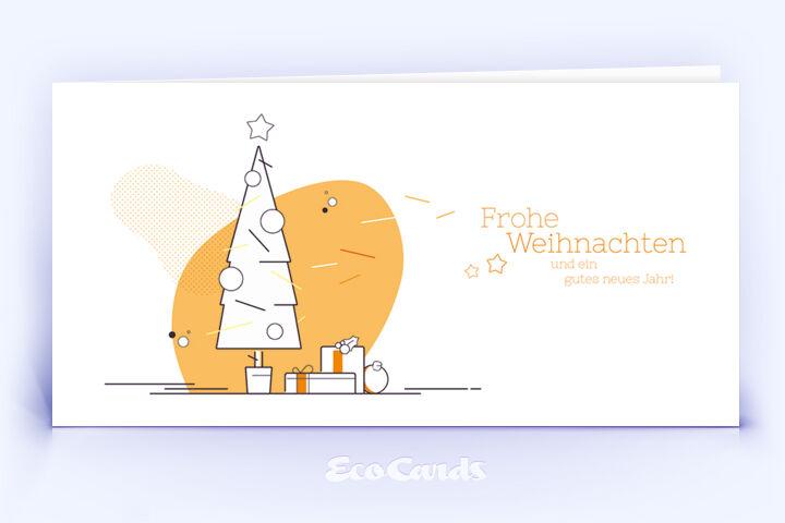 Weihnachtskarte Nr. 1734 orange mit Weihnachtsbaum