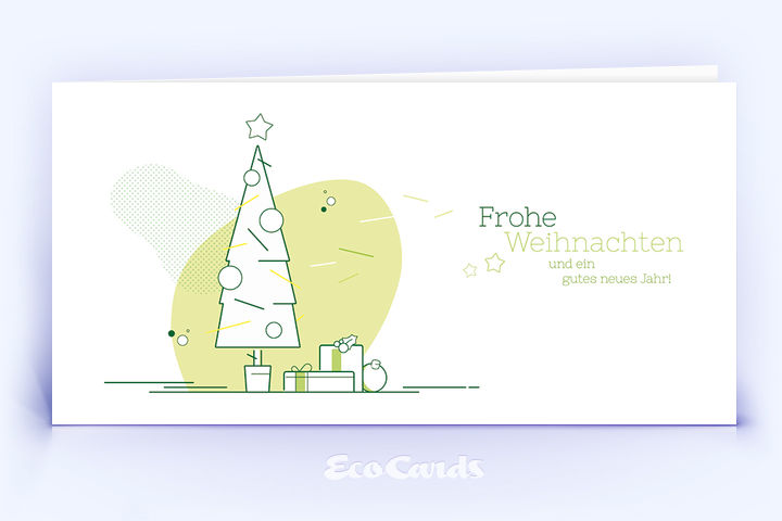 Weihnachtskarte Nr. 1736 hellgruen mit Weihnachtsbaum