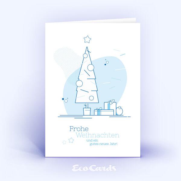Weihnachtskarte Nr. 1739 hellblau mit Weihnachtsbaum