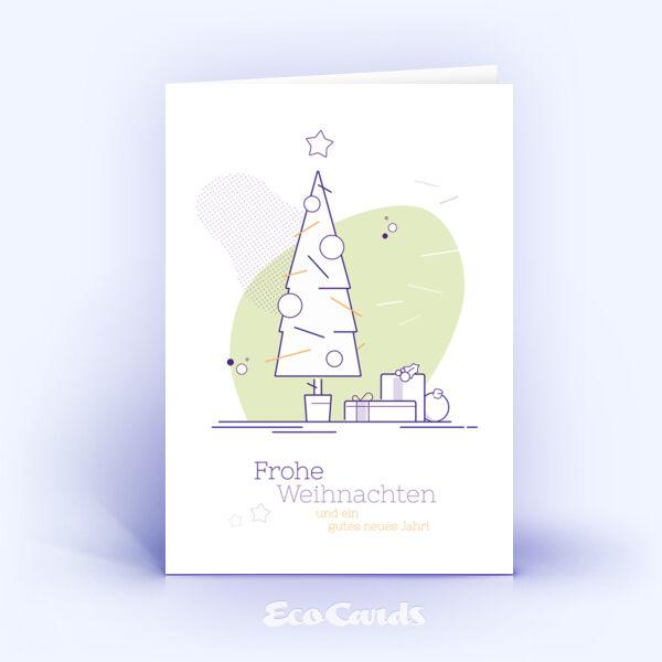 Weihnachtskarte Nr. 1741 hellgruen mit Weihnachtsbaum