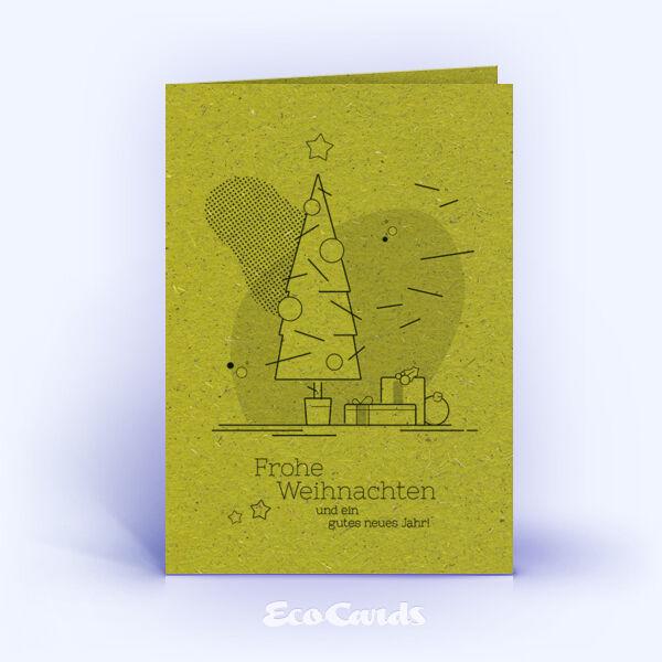 Weihnachtskarte Nr. 1743 gruen mit Weihnachtsbaum