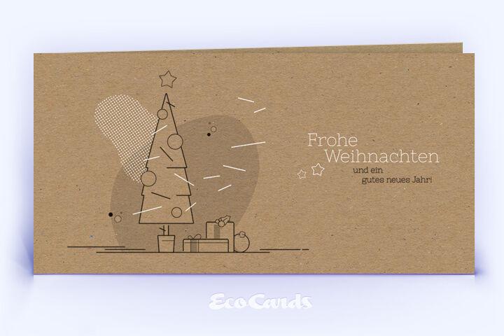 Weihnachtskarte Nr. 1748 braun mit Weihnachtsbaum