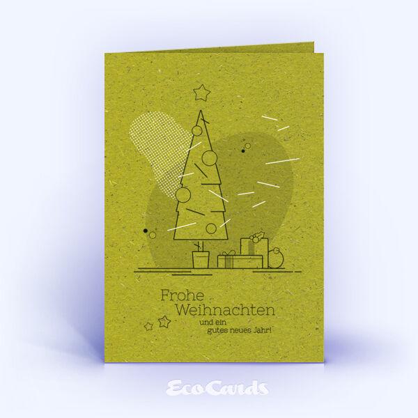 Weihnachtskarte Nr. 1749 gruen mit Weihnachtsbaum
