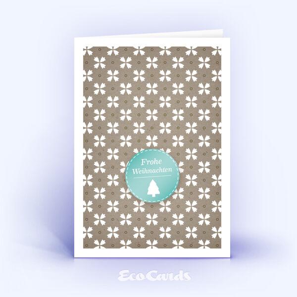 Öko Weihnachtskarten Nr. 175 naturfarben mit winterlichem Muster sind mit einem modernen Kartenmotiv bedruckt.