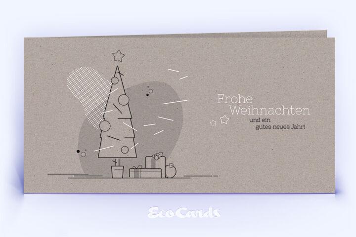 Weihnachtskarte Nr. 1750 grau mit einem Weihnachtsbaum