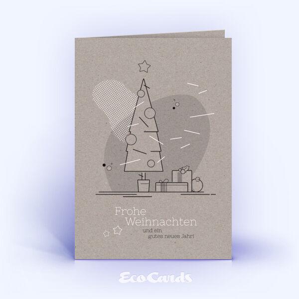 Weihnachtskarte Nr. 1753 grau mit einem Weihnachtsbaum