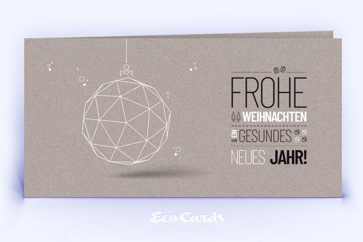 Weihnachtskarte Nr. 1778 grau mit einer Weihnachtskugel