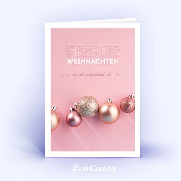 Weihnachtskarte Nr. 1785 pink mit mehreren Weihnachtskugeln