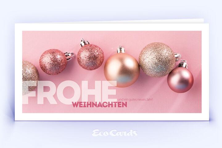 Weihnachtskarte Nr. 1786 rosa mit verschiedenen Weihnachtskugeln