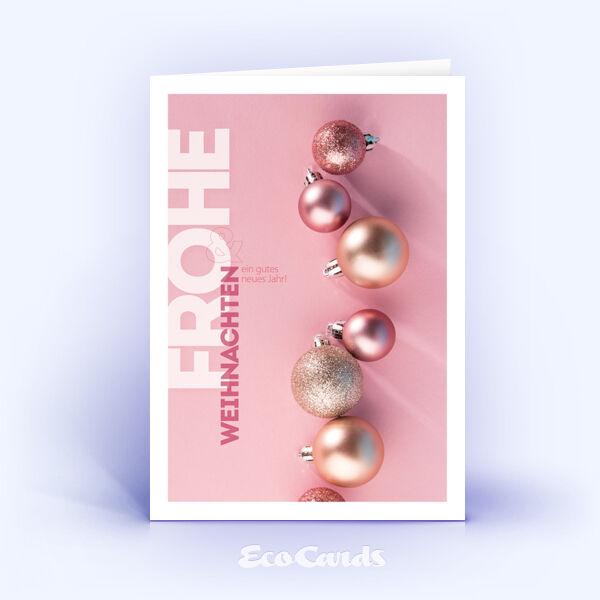 Weihnachtskarte Nr. 1787 rosa mit Weihnachtskugeln