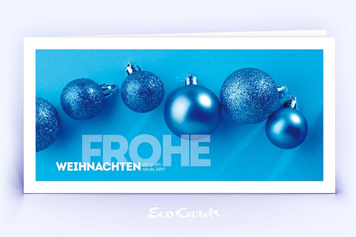 Weihnachtskarte Nr. 1792 blau mit verschiedenen Weihnachtskugeln