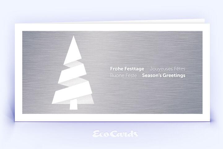 Weihnachtskarte Nr. 1820 silber mit Weihnachtsbaum