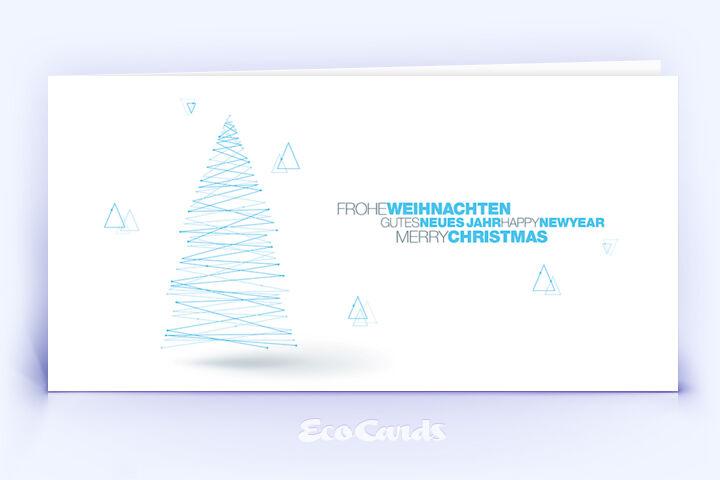 Weihnachtskarte Nr. 1826 blau mit einem Weihnachtsbaum