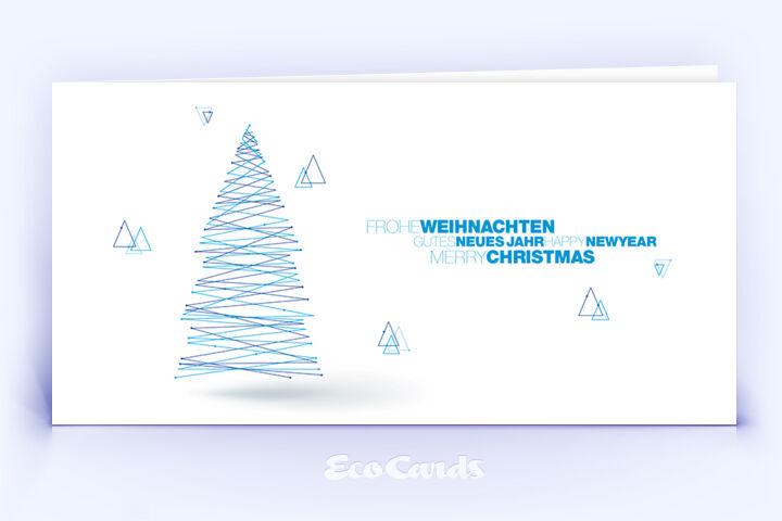 Weihnachtskarte Nr. 1828 blau mit Weihnachtsbaum