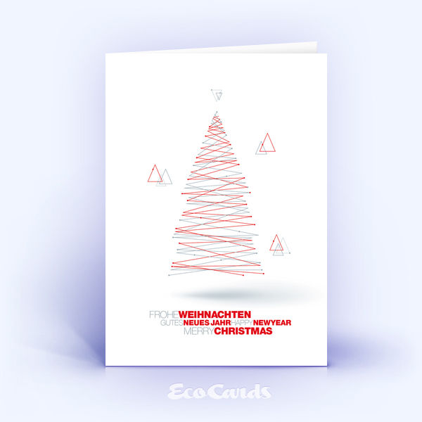 Weihnachtskarte Nr. 1829 rot mit einem Weihnachtsbaum