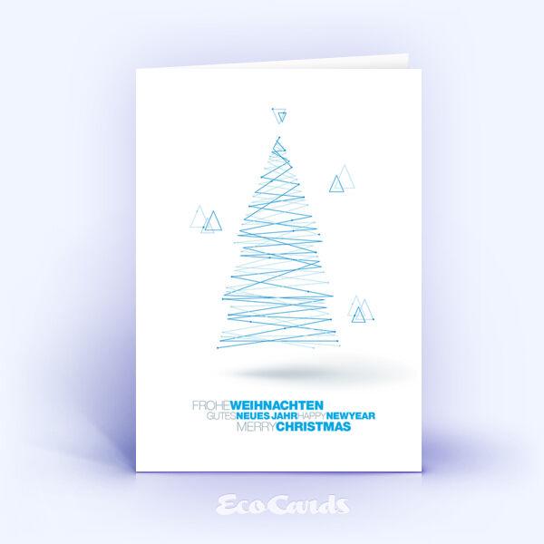 Weihnachtskarte Nr. 1831 blau mit einem Weihnachtsbaum