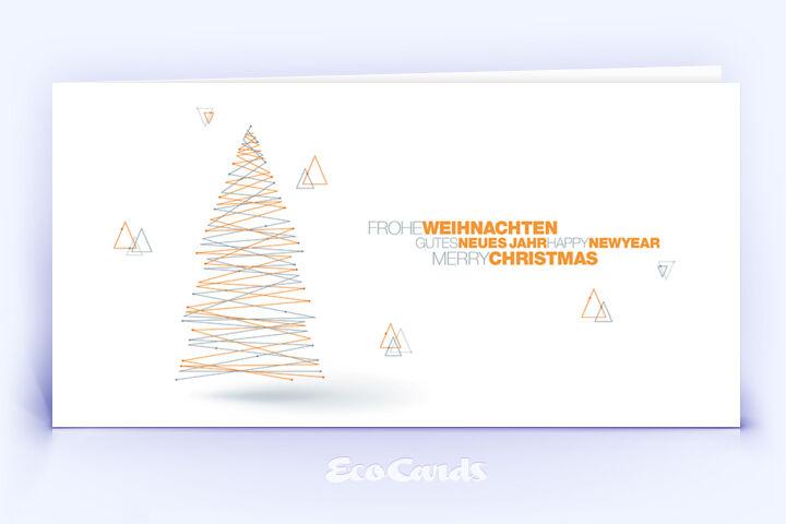 Weihnachtskarte Nr. 1832 orange mit Weihnachtsbaum