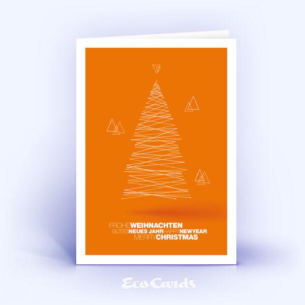 Weihnachtskarte Nr. 1833 orange mit einem Weihnachtsbaum