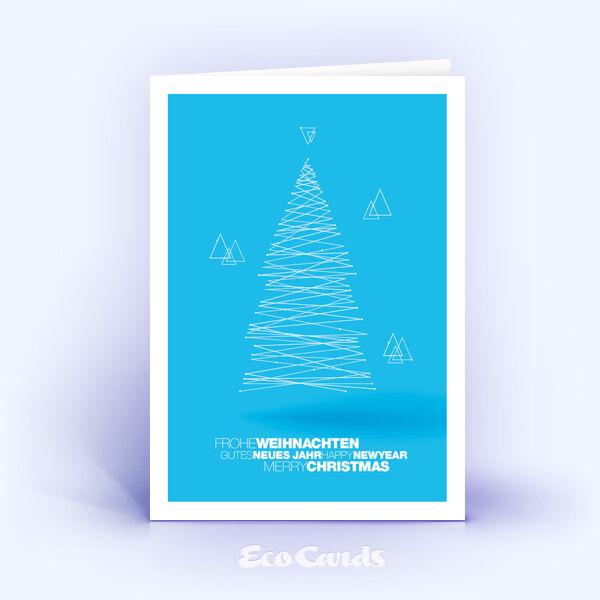 Weihnachtskarte Nr. 1835 hellblau mit einem Weihnachtsbaum