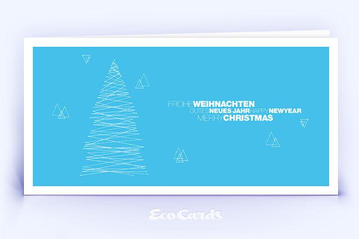 Weihnachtskarte Nr. 1836 blau mit einem Weihnachtsbaum