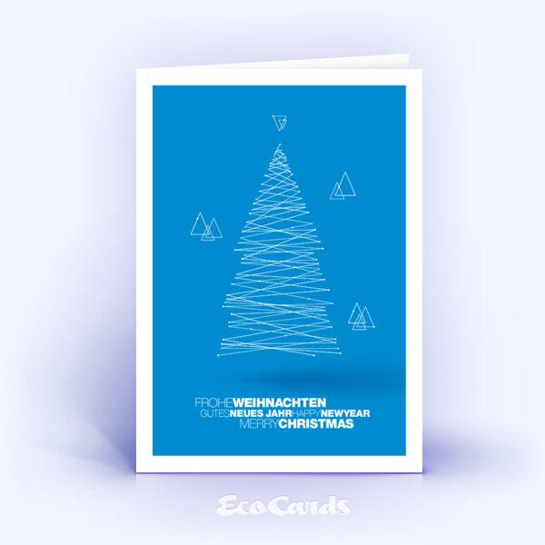 Weihnachtskarte Nr. 1837 blau mit einem Weihnachtsbaum