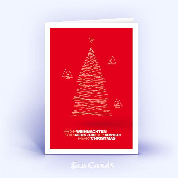 Weihnachtskarte Nr. 1839 rot mit einem Weihnachtsbaum