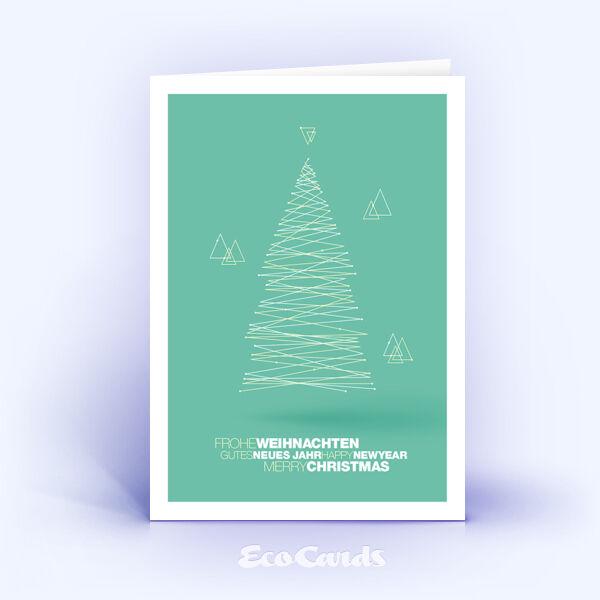 Weihnachtskarte Nr. 1841 tuerkis mit Weihnachtsbaum