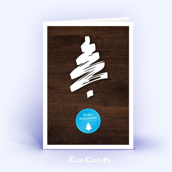 Weihnachtskarte Nr. 185 braun mit aufgedruckter Holzmaserung