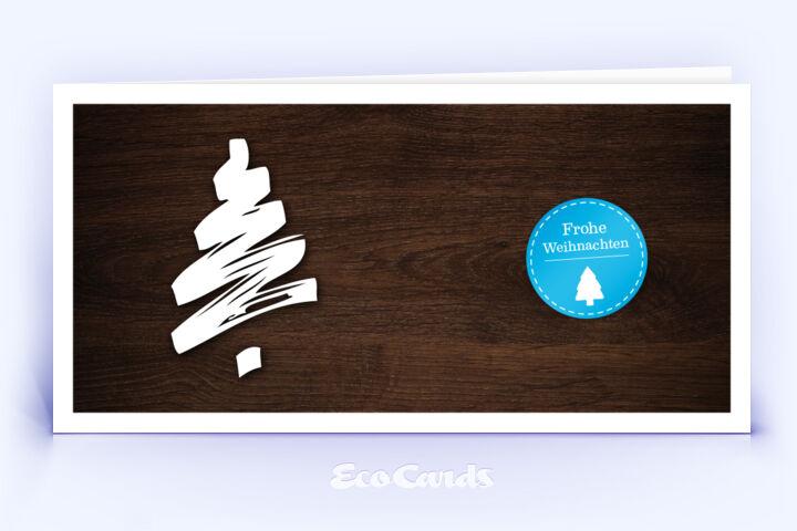 Weihnachtskarte Nr. 186 braun mit einer aufgedruckten Holzmaserung