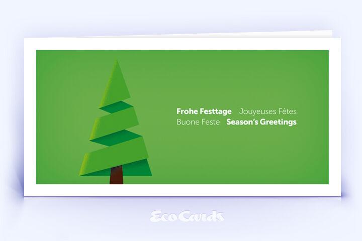 Weihnachtskarte Nr. 1860 gruen mit Weihnachtsbaum