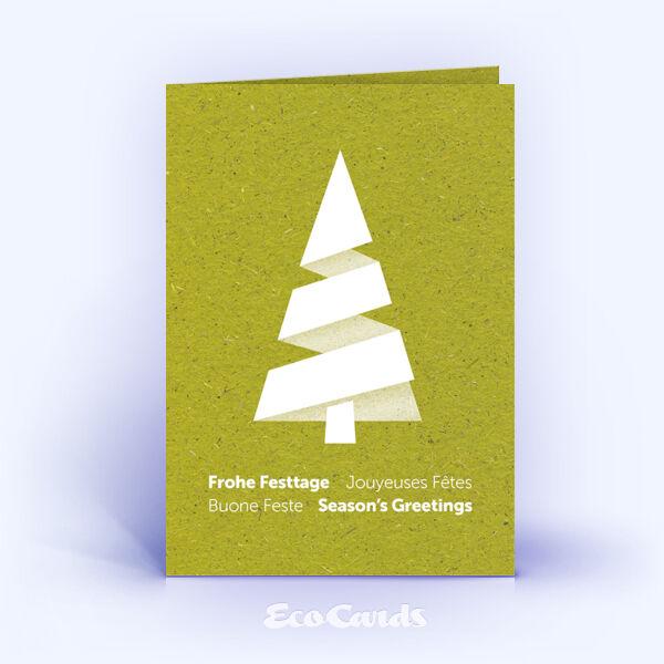 Weihnachtskarte Nr. 1863 gruen mit Weihnachtsbaum