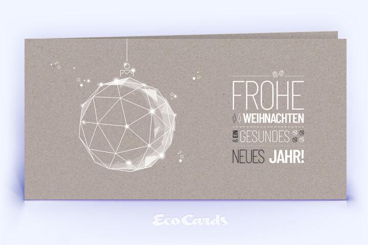Weihnachtskarte Nr. 1880 grau mit Weihnachtskugel