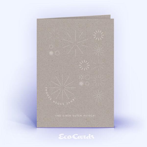 Neujahrskarte Nr. 1901 grau mit weihnachtlicher Illustration