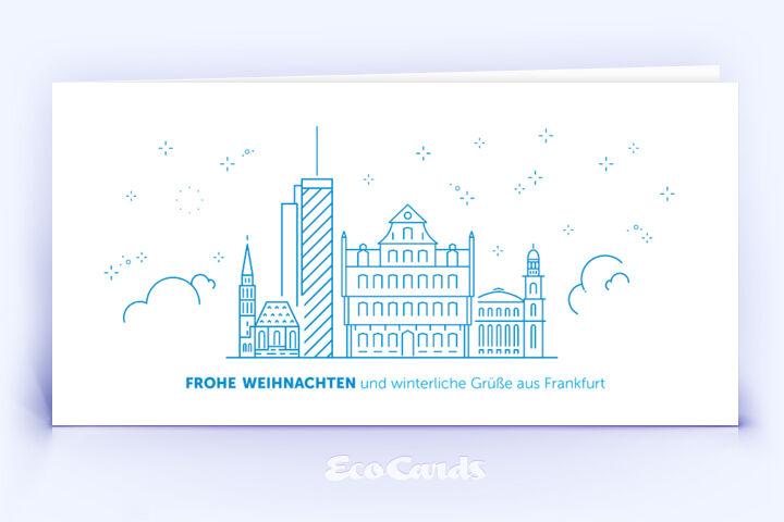 Weihnachtskarte Nr. 1908 blau mit Frankfurter Skyline