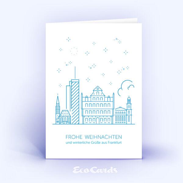 Weihnachtskarte Nr. 1909 blau mit der Frankfurter Skyline