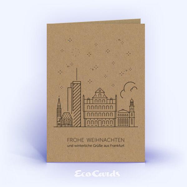Weihnachtskarte Nr. 1911 braun mit der Frankfurter Skyline