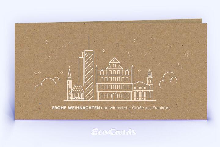 Weihnachtskarte Nr. 1912 braun mit Frankfurt Silhouette
