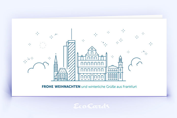 Weihnachtskarte Nr. 1914 dunkelblau mit Frankfurt Design