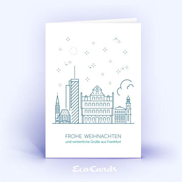 Weihnachtskarte Nr. 1915 dunkelblau mit der Frankfurter Skyline