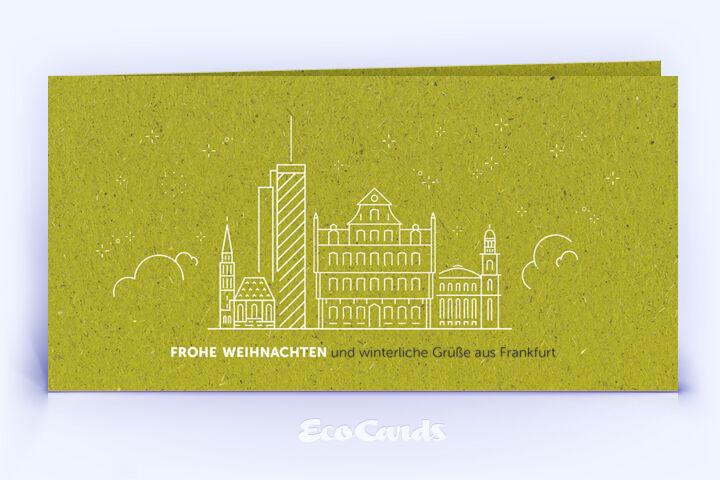 Weihnachtskarte Nr. 1918 gruen mit Frankfurter Skyline