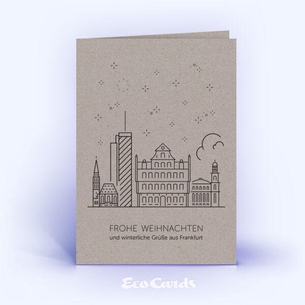 Weihnachtskarte Nr. 1921 grau mit Frankfurter Skyline