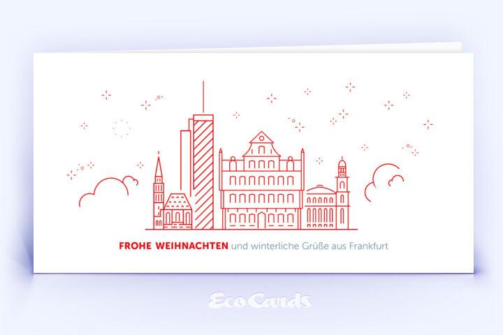 Weihnachtskarte Nr. 1928 rot mit Frankfurt Design