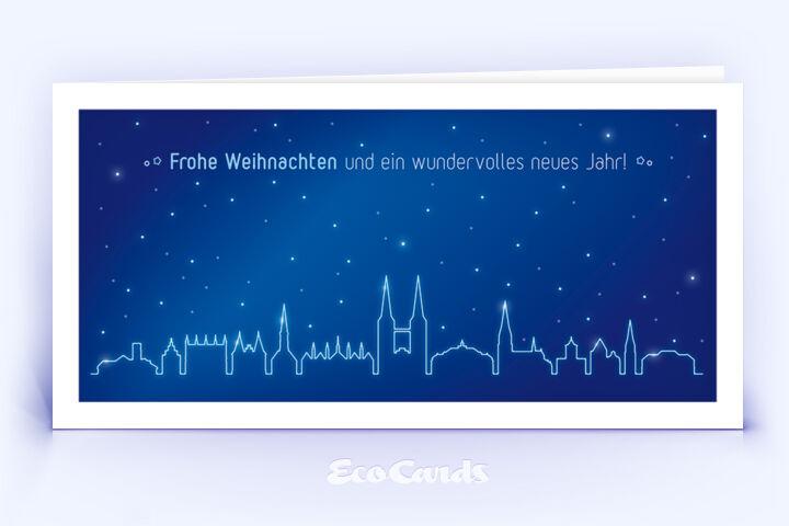 Weihnachtskarte Nr. 1962 blau mit der Lübecker Skyline