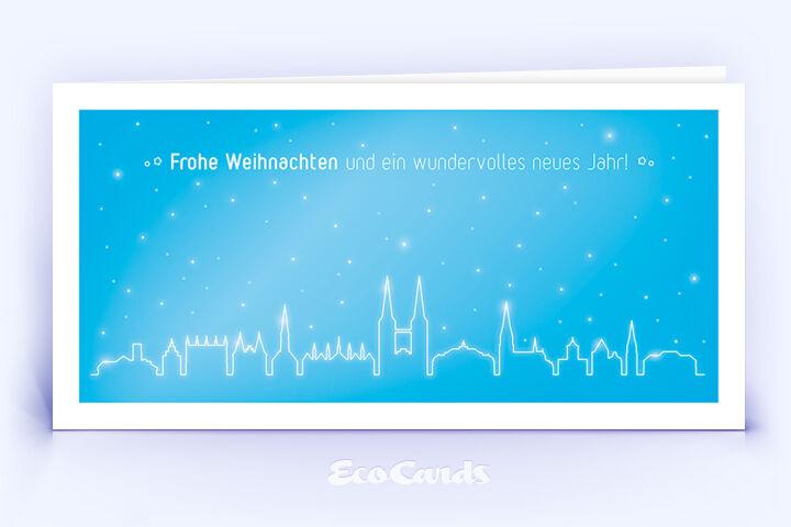 Weihnachtskarte Nr. 1974 blau mit der Lübecker Stadtsilhouette