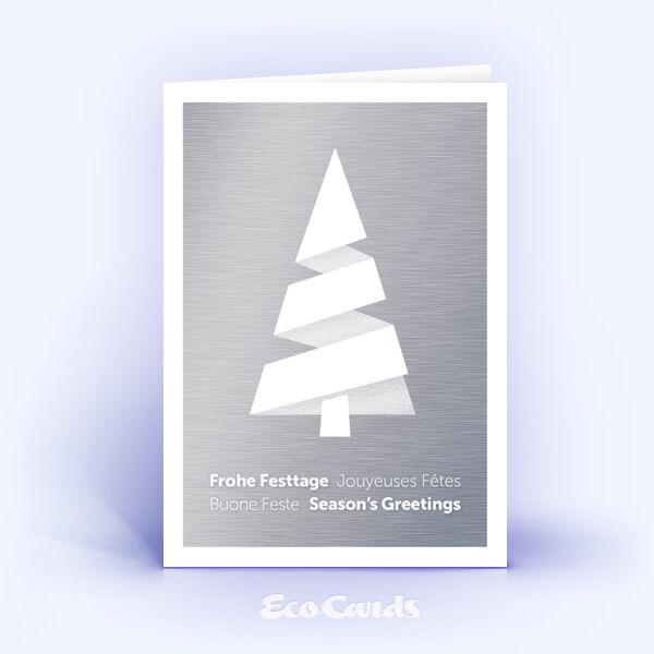 Weihnachtskarte Nr. 1979 silber mit einem Weihnachtsbaum