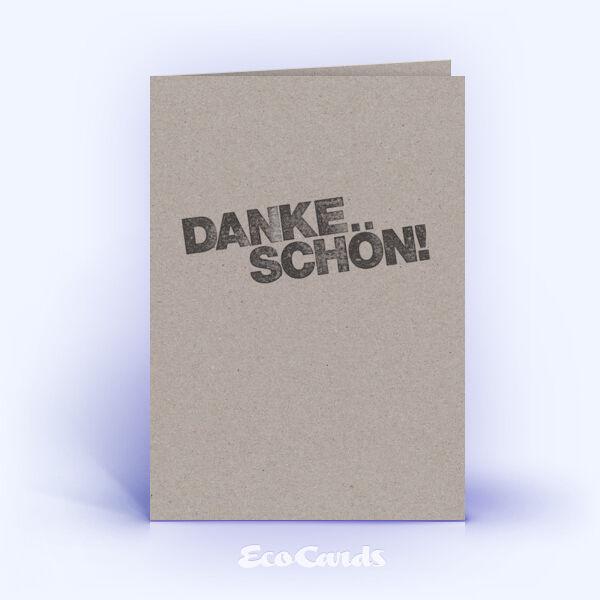 Dankeskarte Nr. 2003 grau mit einem typografisch gestalteten Design
