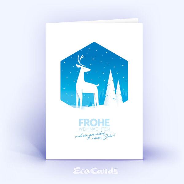 Weihnachtskarte Nr. 2027 blau mit Hirsch Silhouette