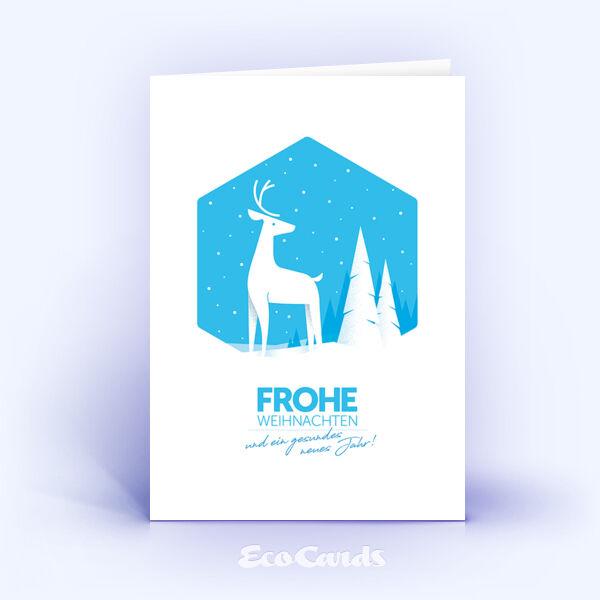 Weihnachtskarte Nr. 2029 blau mit Hirschmotiv