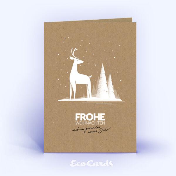 Weihnachtskarte Nr. 2031 braun mit Hirsch Illustration